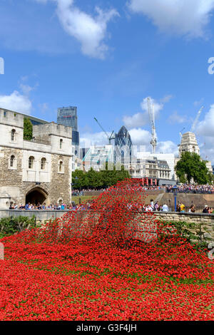 London, England, UK. 'Blood Swept Lands and Seas of Red' - Poppies in the Moat at the Tower of London. Art installation - Stock Photo