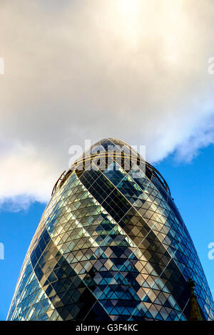 30 St Mary Axe, known as 'The Gherkin', London, England, United Kingdom - Stock Photo