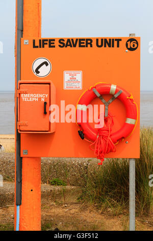 Life Saver Unit on the beach at Caister, Norfolk. - Stock Photo