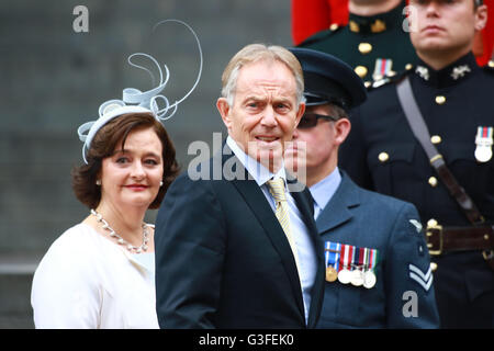 London, UK. 10th June, 2016. Cherie Blair and husband Tony Blair (former British Prime Minister) attending a National - Stock Photo