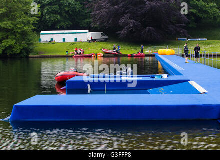 Leeds, UK. 10th June, 2016.  Newly constructed pontoon at Roundhay park in Leeds where thousands of amateur and - Stock Photo