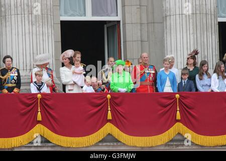 Royal family, Buckingham Palace, London June 2016- Trooping the Color ceremony, Princess Charlottes first appearance - Stock Photo