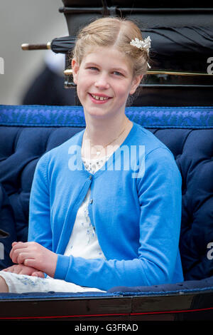 London, UK. 11th June, 2016. Lady Louise attends Trooping the colour the Queen's birthday parade at Buckingham Palace - Stock Photo