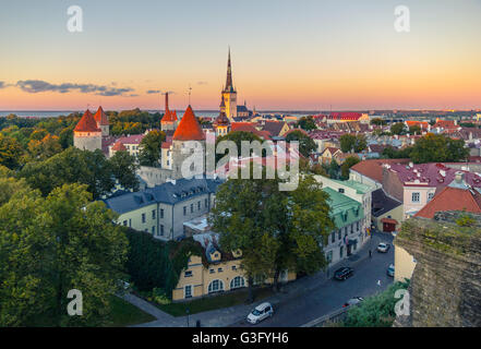 The streets of the old town of Tallinn at sunset in October - Stock Photo