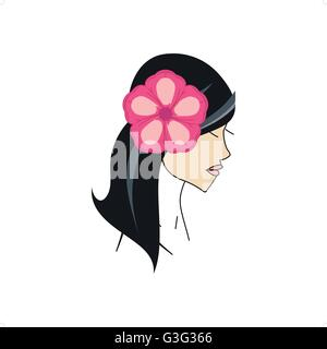 Beautiful hawaiian girl with flower in hair vector illustration isolated on white background. - Stock Photo