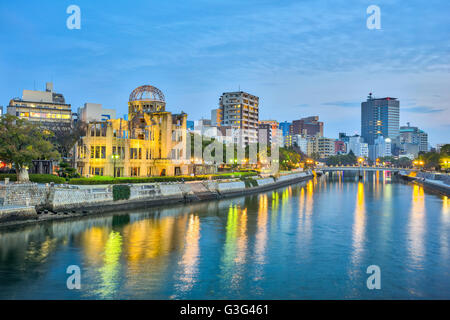 Hiroshima Peace Memorial or Atomic Bomb Dome in Hiroshima, Japan. - Stock Photo