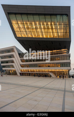 Library and Learning Centre University of Economics Vienna, Austria, architecture by the architect Zaha Hadid - Stock Photo