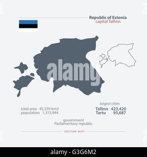 Republic of Estonia isolated maps and official flag icon. vector Estonian political map icons and general information. - Stock Photo