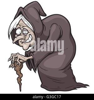 Vector illustration of Cartoon Witch - Stock Photo