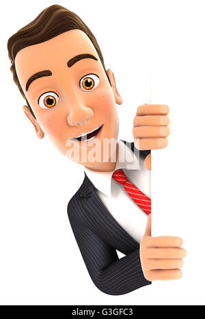 3d businessman peeping over blank wall, illustration with isolated white background - Stock Photo
