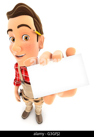 3d handyman holding company card, illustration with isolated white background - Stock Photo