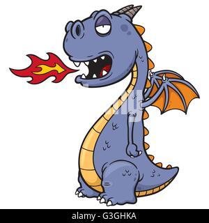 Vector illustration of Cartoon dragon - Stock Photo