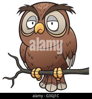 Vector illustration of Cartoon owl sitting on tree branch