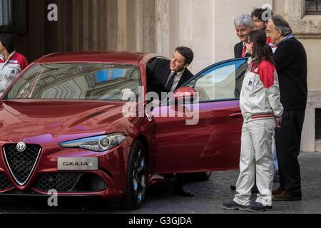 John Elkann, Chairman of Fiat Chrysler Automobiles (FCA), Italian Prime Minister Matteo Renzi and Sergio Marchionne, - Stock Photo