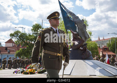 Prague, Czech Republic. 08th May, 2016. An officer of the Czech Army marches away after rendering military honors - Stock Photo