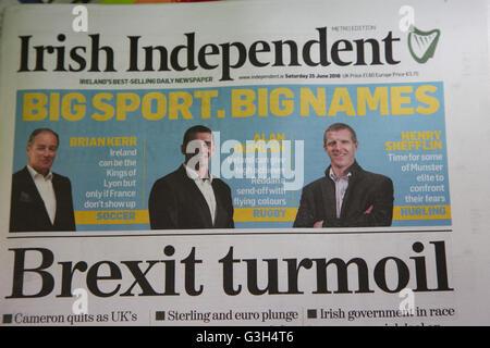 London, UK 25 June 2016 - Irish Independent newspaper's headline the morning after the British EU Referendum results - Stock Photo