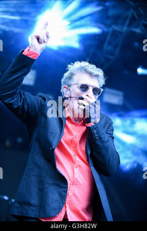 June 24, 2016 - London, South West, UK - Tom Bailey, band member of the Thompson Twins performs at the Fold Festival - Stock Photo
