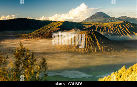 The view of Mount Bromo from the Penanjakan Viewpoint, Mount Bromo National Park, East Java, Indonesia. - Stock Photo