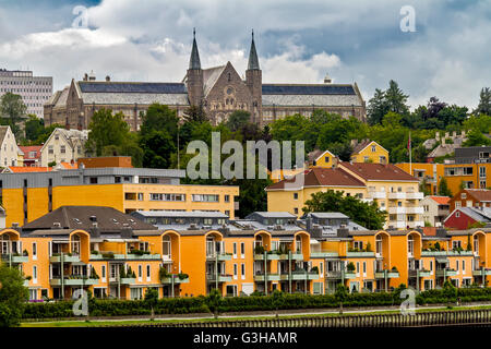 Church With Two Spires On The River Nidelva Trondheim Norway - Stock Photo