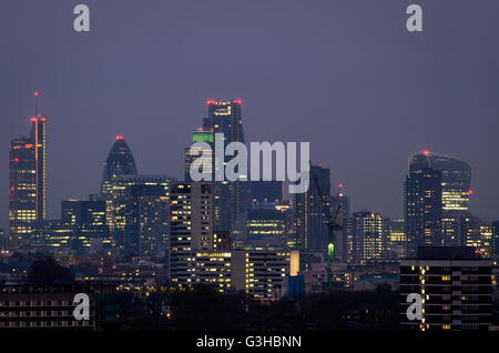 London, city skyline from Parliament Hill - Stock Photo
