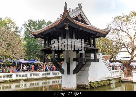 Hanoi, Vietnam: February 23, 2016: Tourists visiting the One Pillar Pagoda in Hanoi - Stock Photo