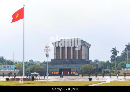 Hanoi, Vietnam: February 23, 2016: Ho Chi Min mausoleum in Hanoi city on a rainy day - Stock Photo
