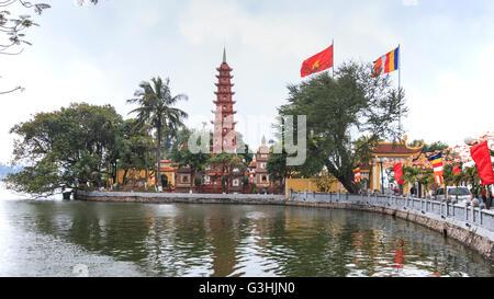 Hanoi, Vietnam: February 23, 2016: Tran Quoc pagoda, the oldest Buddhist temple in Hanoi. - Stock Photo
