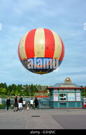 Panoramic balloon at Disney village, Paris - Stock Photo