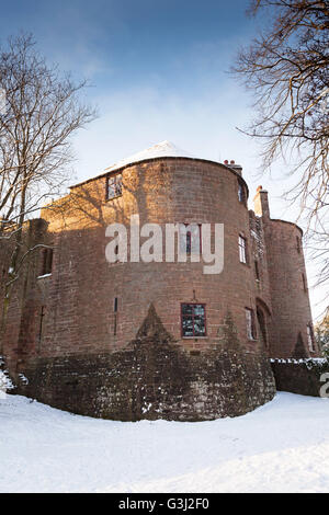 'St Briavels' Castle in winter snow, 'Forest of Dean', Gloucestershire, England, UK - Stock Photo