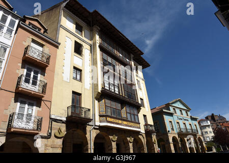 Reinosa in Cantabria, Spain The Banco de Santander old bank building - Stock Photo