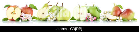 Apple and pear collection apples pears fruit fruits isolated on a white background - Stock Photo