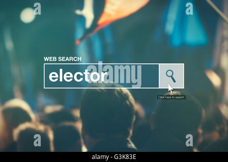 Elector - web search bar glossary term in internet glossary. - Stock Photo