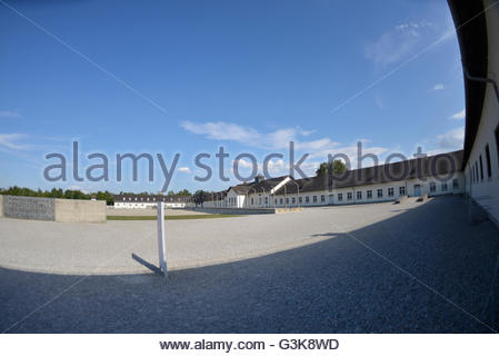 external view of Dachau Concentration Camp Munich Germany Bavaria - Stock Photo