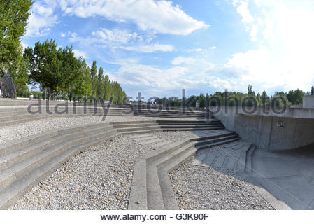 Memorial center, Chapel memorial at Dachau Concentration Camp Munich Germany Bavaria - Stock Photo