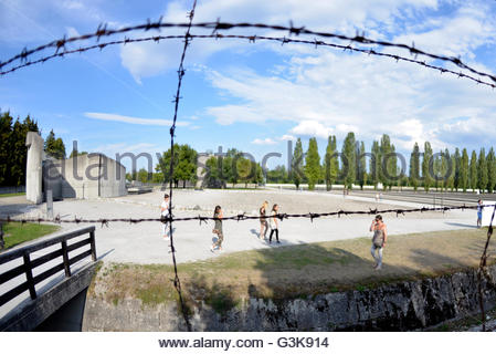 barbed wire fence at Dachau Concentration Camp Munich Germany Bavaria - Stock Photo