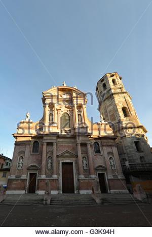 lions in front of church of San Prospero in Reggio Emilia, Emilia Romagna, Italy - Stock Photo