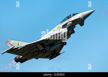 Royal Air Force Eurofighter EF-2000 Typhoon, ZJ916, takes off at the Cotswold Airshow, Kemble, Gloucestershire, - Stock Photo