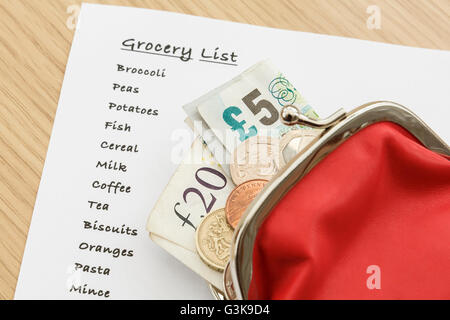 Shopping list for groceries with sterling money cash GBP in a purse from above. England, UK, Britain