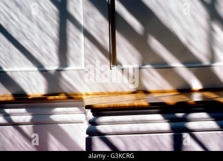 Abstract view of light & shadows on pews; Stowe Community Church; Stowe; Vermont; USA - Stock Photo
