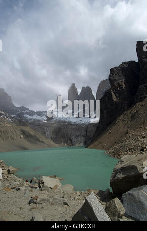 Glacier lake at the top of the Base of the Towers Hike in Torres del Paine National Park, Patagonia, Chile. - Stock Photo