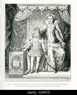 The caption for this engraving reads: Marie de Medicis, the regent and her son, Louis XIII of France. The image - Stock Photo
