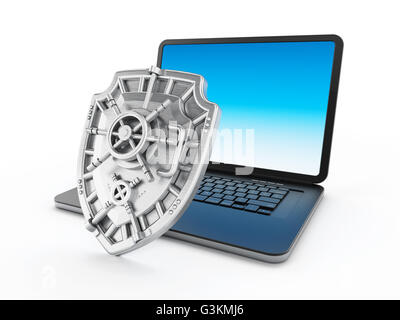 Iron shield protecting laptop computer. 3D illustration. - Stock Photo
