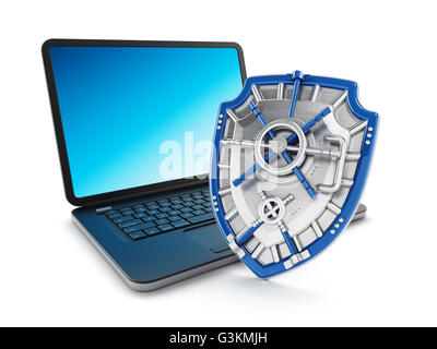 Iron shield protecting laptop computer. 3D illustration. - Stock Photo