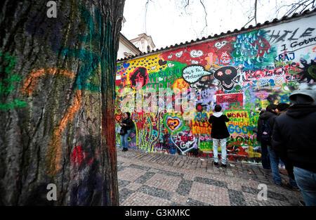 John Lennon wall, Prague - Stock Photo
