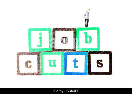 job cuts redundancies redundancy cut backs work loss workers losing employment Cutout cut out white background isolated - Stock Photo