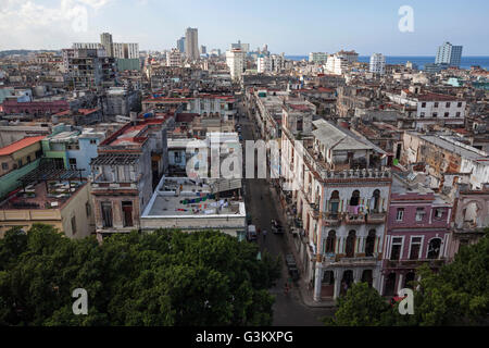 View of houses and rooves in city centre, Havana, Cuba - Stock Photo