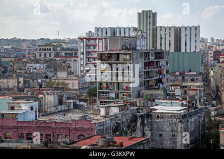 View of ramshackle houses and rooves in city centre, Havana, Cuba - Stock Photo