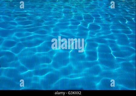 Water reflections, sun reflections on water in a swimming pool - Stock Photo