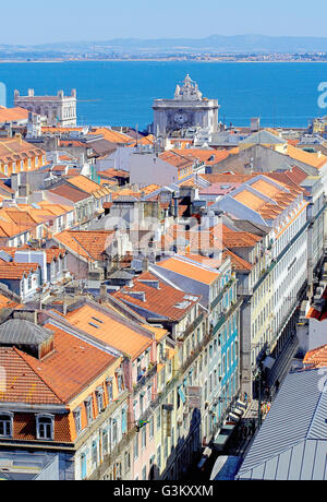 Lisbon historical centre, elevated view, Lisbon, Portugal - Stock Photo