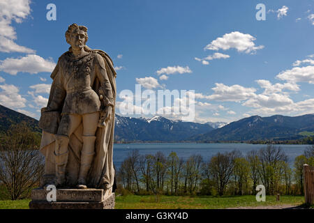 Monument, King Ludwig II of Bavaria, Gut Kaltenbrunn, Tegernsee lake behind, Upper Bavaria, Bavaria, Germany - Stock Photo